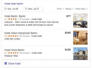 Google Hotel Ads screenshot