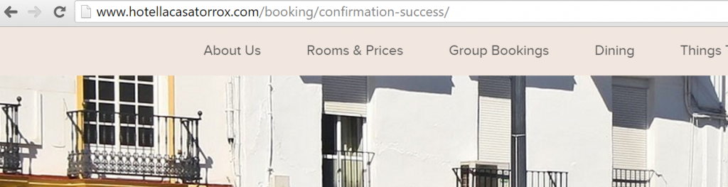 Hotel URL booking confirmation