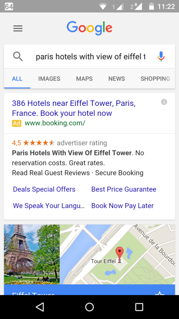 Hotel search results on a mobile