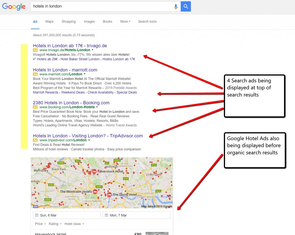 Hotel search in Google PPC